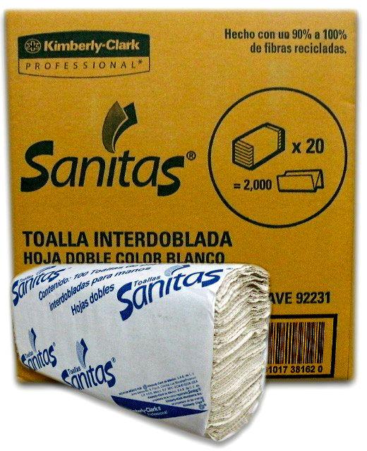 TOALLA INTERDOBLADA SANITAS 92231 DE 100 HOJAS DOBLES 20 PAQUETES