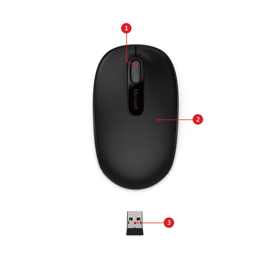 MOUSE INALAMBRICO MICROSOFT 7MM-00001 CONEXION USB COLOR NEGRO