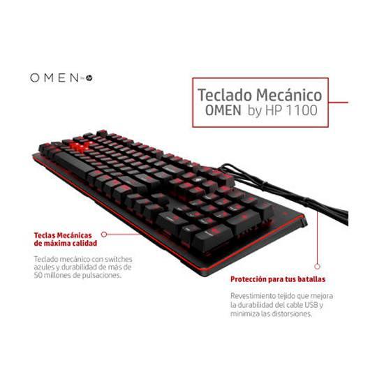 TECLADO GAMING ALAMBRICO HP OMEN 1100 CONEXION USB COLOR NEGRO CON RETROILUMINACION